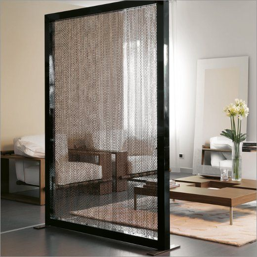 mobile chain screen in a black metal frame to slightly divide modern spaces