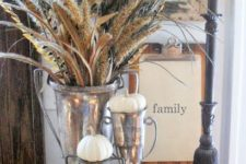 13 neutral pumpkins and spikelets in vintage cups