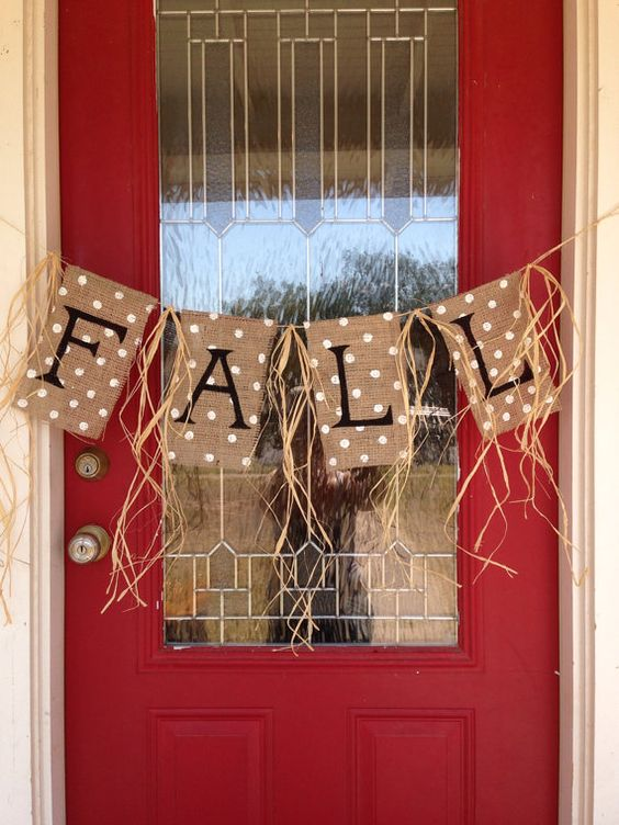stamped FALL burlap banner for a front door