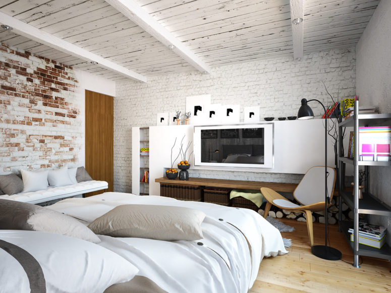 Lots of white and neutrals make this bedroom airy and full of light