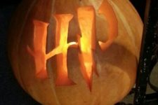 15 Harry Potter monogram pumpkin is extremely easy to carve and can work as a lantern