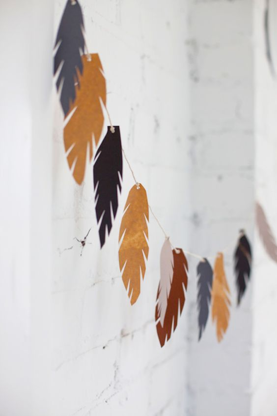 cardboard feather garland
