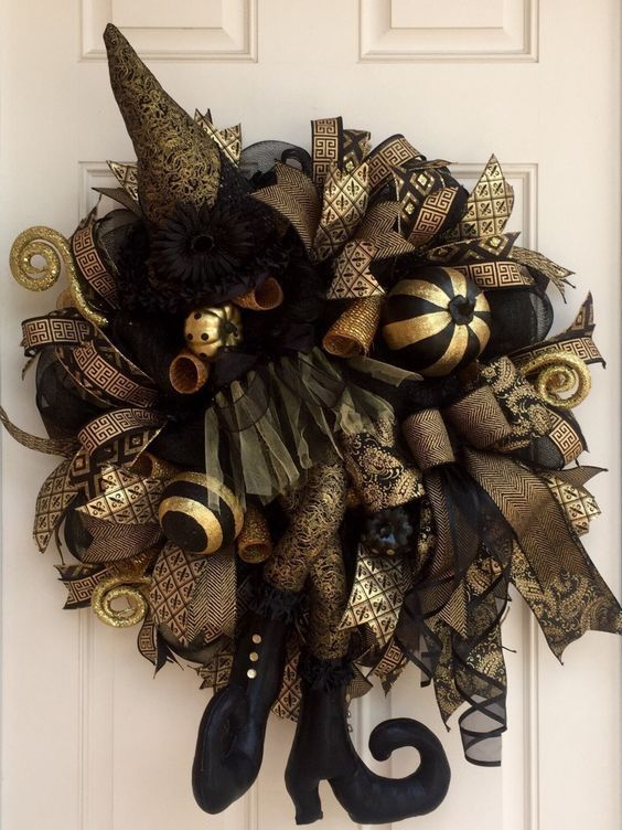 elegant black and gold witch wreath for front door decor