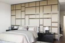 15 fabric covered panels create a cool look and a cozy feeling