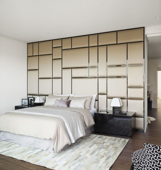 fabric covered panels create a cool look and a cozy feeling