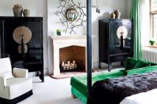 15 polished black cabinets and emerald textiles to spruce the bedroom