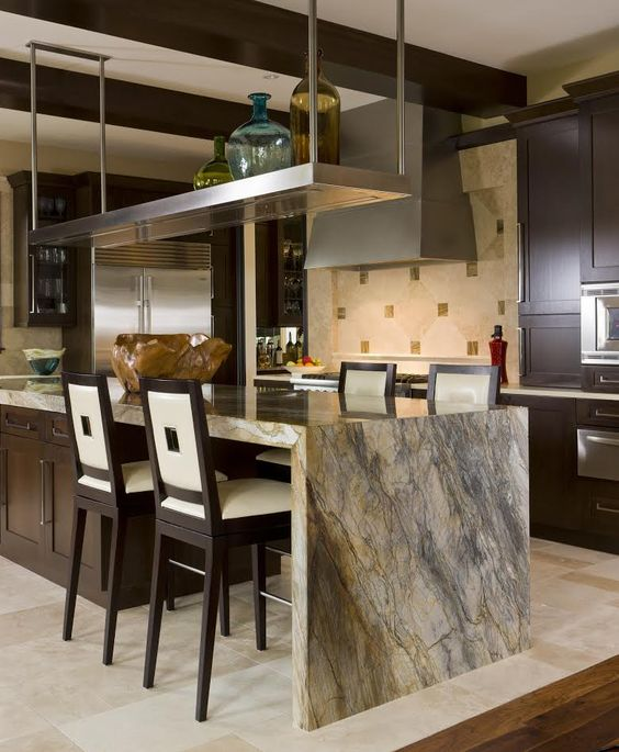 the stone countertop keeps the color scheme and makes the space adorable
