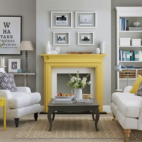 to make a simple light grey living room pop, just paint a mantel in bold yellow