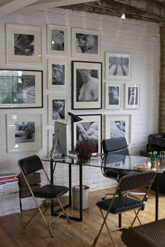 white is great for gallery walls and brick brings texture in