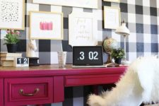 16 buffalo check wall to give a rustic touch to the space