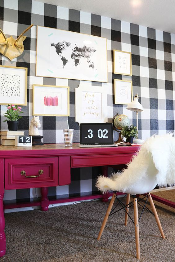 buffalo check wall to give a rustic touch to the space