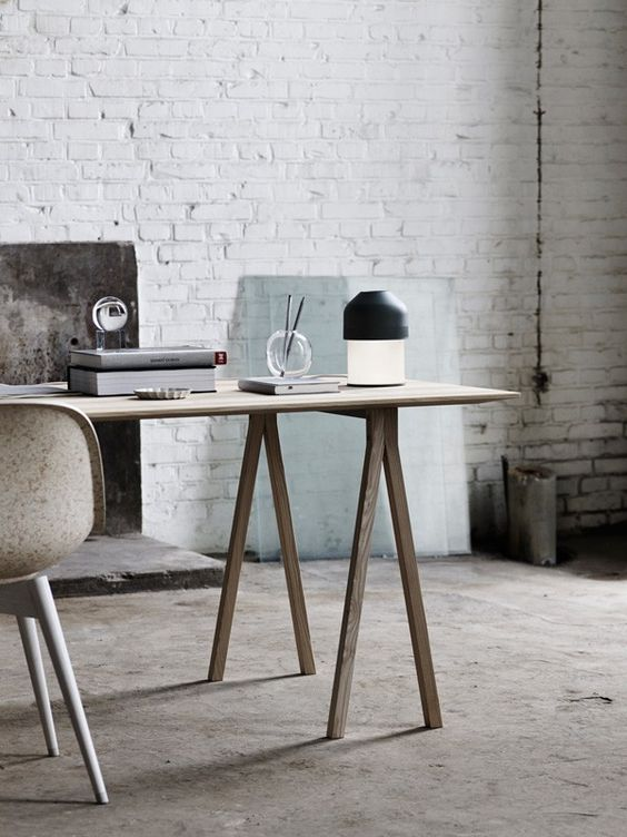industrial and vintage office with a warm-colored desk