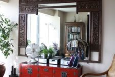 16 red oriental console table looks cool with an Indian frame mirror