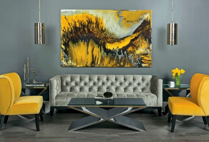Refined Living Room In Grey Shades Looks Bolder With Yellow Chairs And A  Painting
