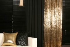 16 these black and gold sequin curtains add a bold touch to the room decor