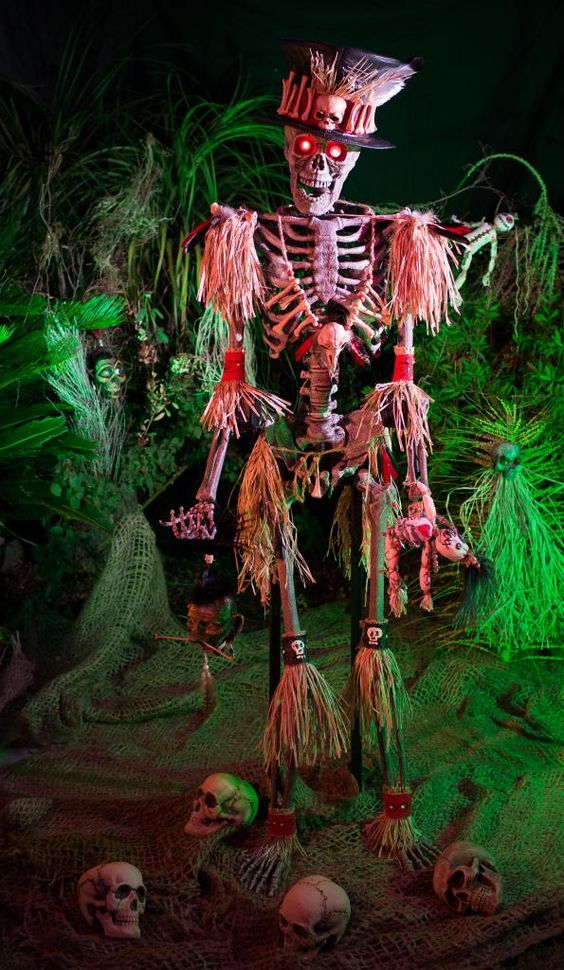 voodoo skeleton for outdoor decor is a great take on traditional skeleton scenes