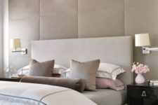 17 luxury upholstered panels in soft beige color