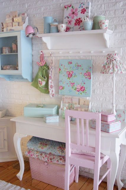 shabby chic girl's room looks cool with whitewashed brick walls