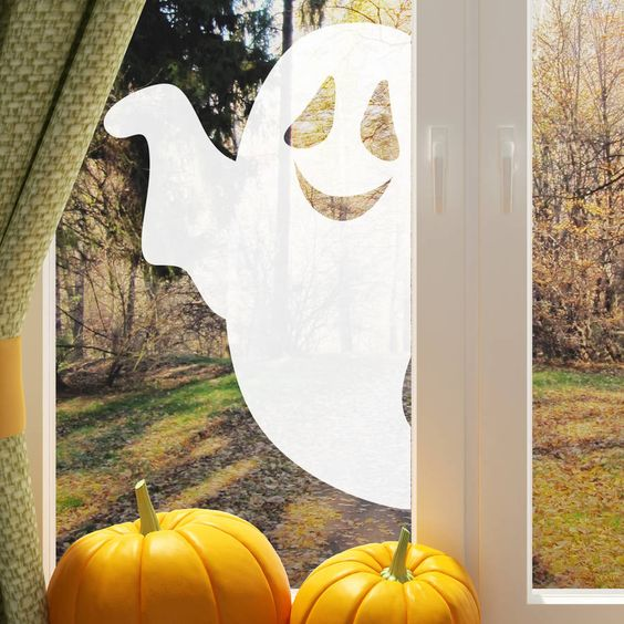 sweet ghost sticker is right you need if there's no time for crafting or as last minute Halloween decoration