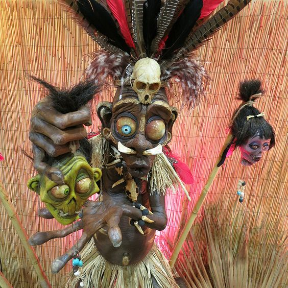 witch doctor with shrunken heads for spooky tropical decor