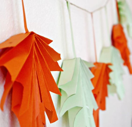 3D folded paper leaf garland