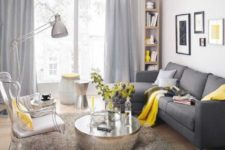 18 dark grey sofa, dove grey curtains, yellow textiles and a vase