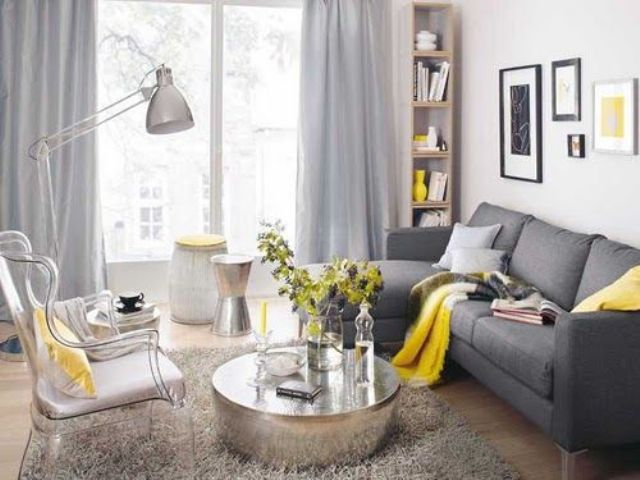 Dark Grey Sofa Dove Curtains Yellow Textiles And A Vase