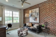 18 modern home office with an aacent brick wall and a wall art