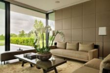 18 neutral upholstered panels have a luxurious look