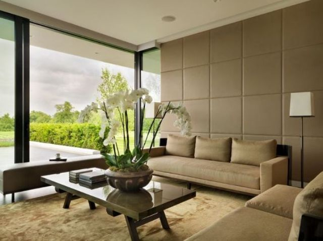 neutral upholstered panels have a luxurious look