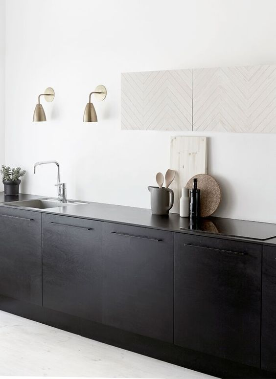 metallic lamps and a chevron wooden art piece spruce up this kitchen a bit