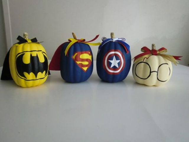 nerdy super hero pumpkins set