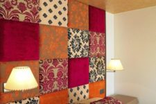 19 patchwork upholstered accent wall doubles as a headboard