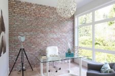 19 urban girlish home office with textural touches like fur and brick
