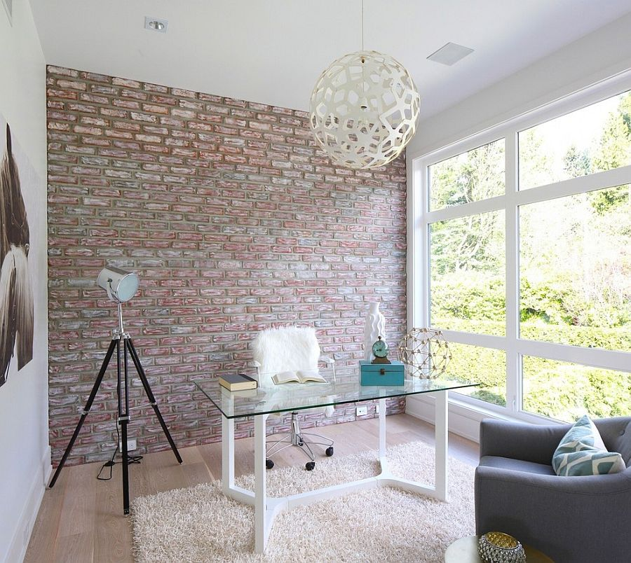 urban girlish home office with textural touches like fur and brick