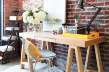 20 chic modern home office with a red brick wall and a wooden desk