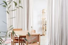 20 cream curtains hide the large storage space