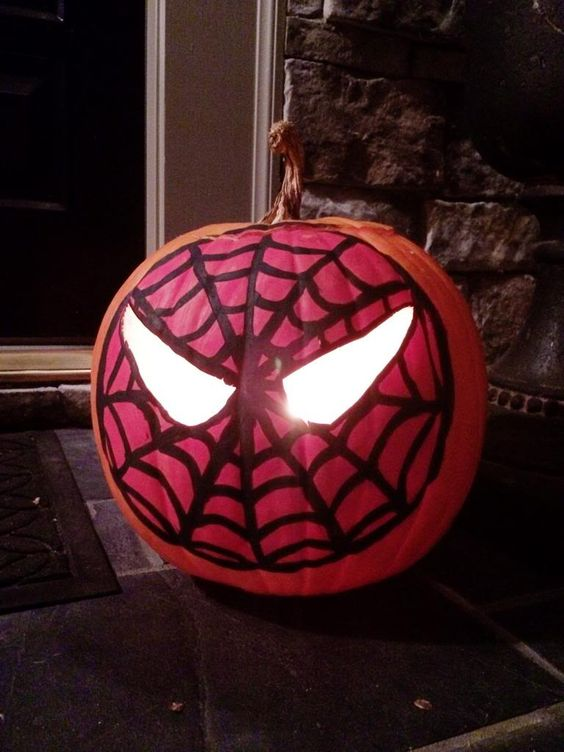 painted and carved Spiderman lantern