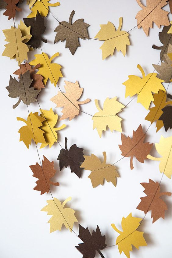 paper leaf garland in fall colors