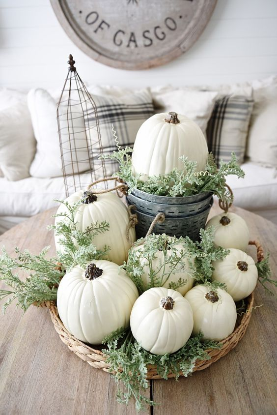white pumpkins, greenery in a basket and buckets on your coffee table