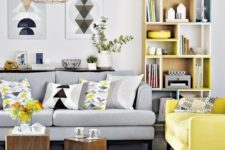21 a light grey sofa with a bright yellow chair in the same style