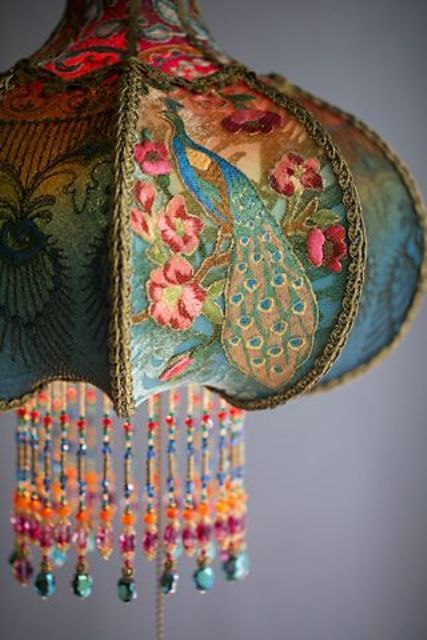 bohemian peacock lamp decorated with beads by hand