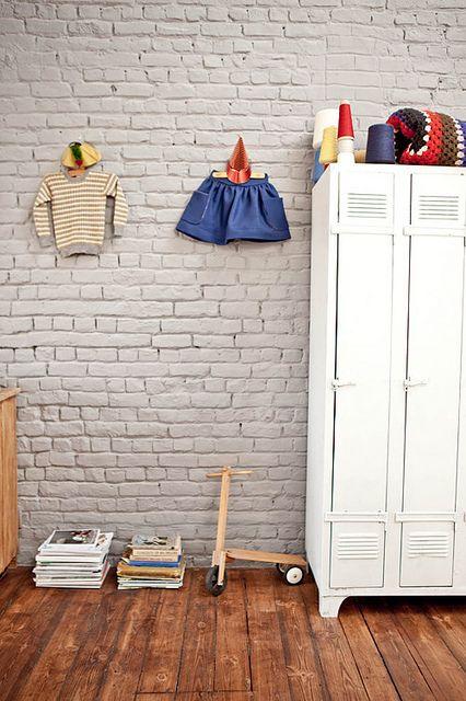 chalk brick wall in a cute kid's room