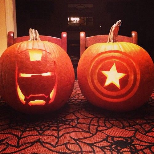 Iron Man pumpkin lanterns