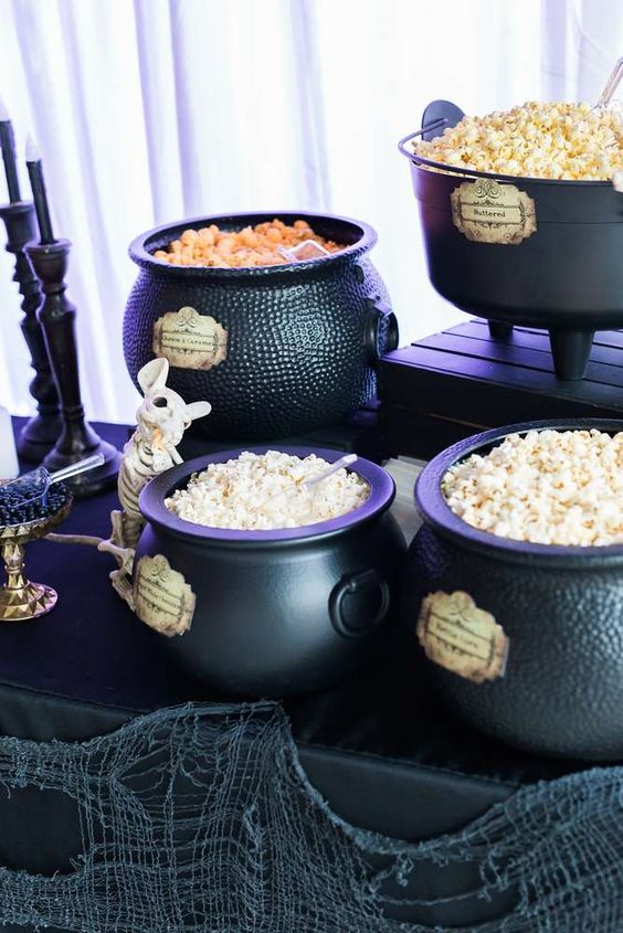 cauldrons used for displaying sweets