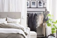 22 create your own closet space separating a corner in your bedroom