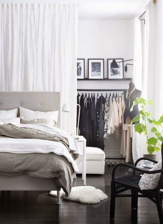 create your own closet space separating a corner in your bedroom