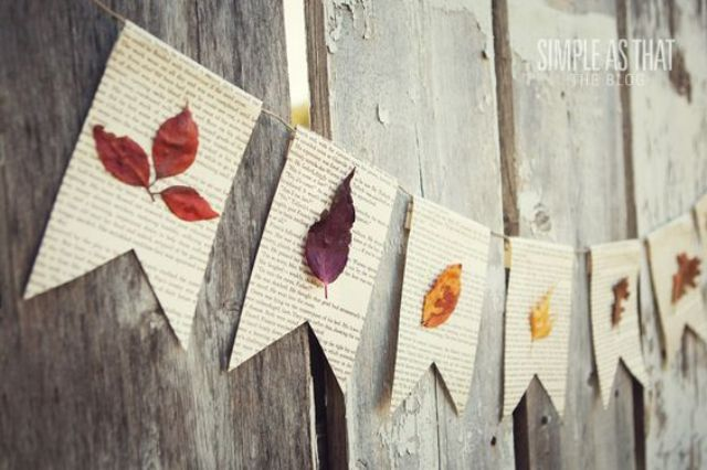 fall leaf book page banner with a vintage touch