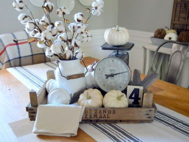 farmhouse crate with cotton and pumpkins is ideal for fall and Thanksgiving