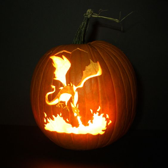 gorgeous dragon pumpkin for book worms